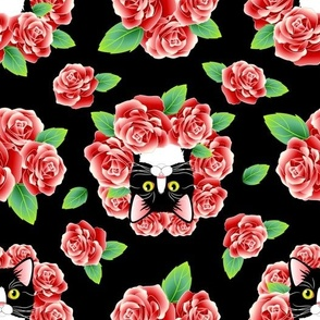 Tuxedo Cat and Roses - Black Flavor