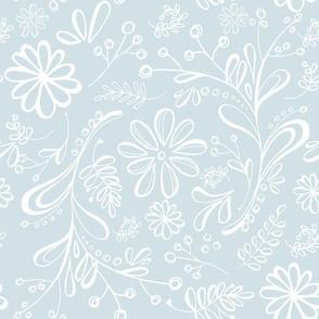 Flower Garden in Blue Gray