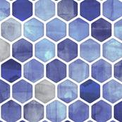 Royal Blue Ink - Watercolor Hexagon Pattern