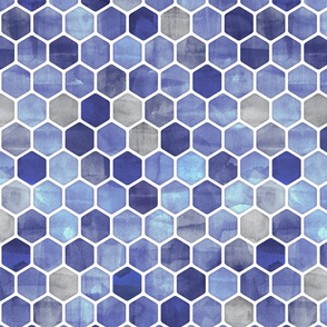 Royal Blue Ink - Watercolor Hexagon Pattern