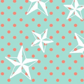 CORAL POLKA WITH WHITE STARS