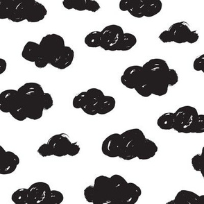 Black clouds black and white abstract geometric gender neutrals prints for kids