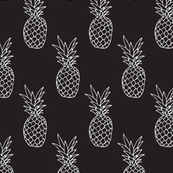 Hot summer pineapple black and white trendy illustration tropical fruit print