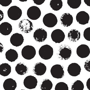 Black and white large circles abstract dots organic trendy gender neutral geometric print