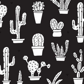 Black and white trendy cactus theme botanical garden gender neutral illustration print