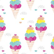 Cute black and white summer ice cream cone water colors illustration print