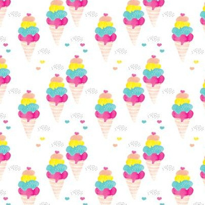 Colorful summer ice cream cone fun trendy kids water color illustration holiday print