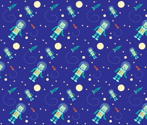 Robots in space fabric annadefago spoonflower for 3d space fabric