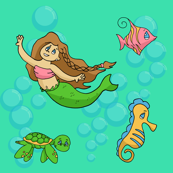 child mermaid and friends