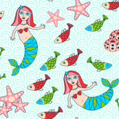 Mermaids and fish