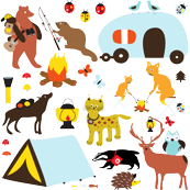 Scandinavian animals go camping