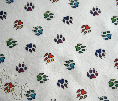 Rainbow trotting paw prints - white