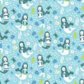 Mermaid and Sea Friends in Blue