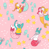 Mermaid Pajama Party on Pink
