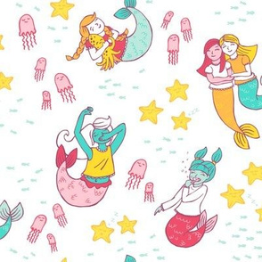 Mermaid Pajama Party on White