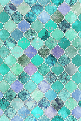 Pale Mint Amp Lilac Decorative Moroccan Tiles Fabric