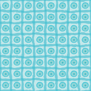 Blue Beach Organic Circles and Checks Bright