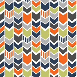 Navy Green Orange Gray Chevron