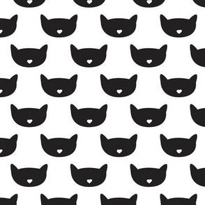 Adorable black and white kitten fun cat illustration in scandinavian abstract style print for kids and cats lovers