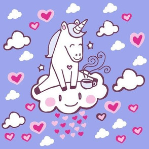 Kawaii Unicorn on Cloud with Tea