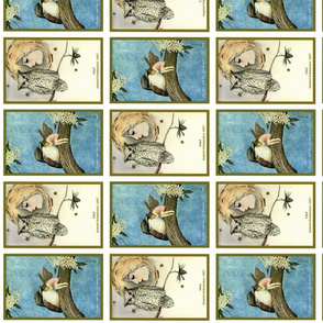 Postcard owl&girl