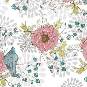 Peonies & Blue Birds