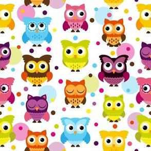Pink Polka Dot Owls