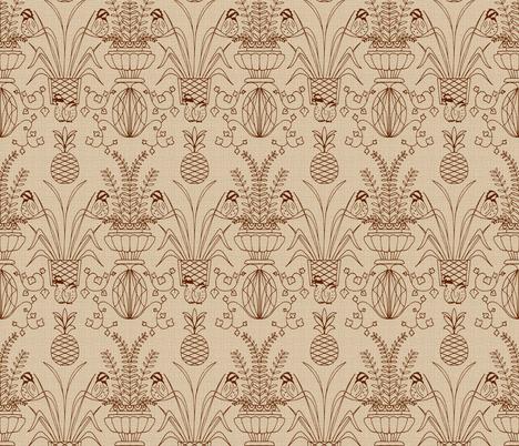 Bobwhite Damask Sepia Linen