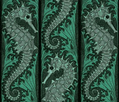 Seahorse Stripe Mosaic Emerald Grey