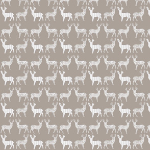 White Meadow Deer White on Taupe