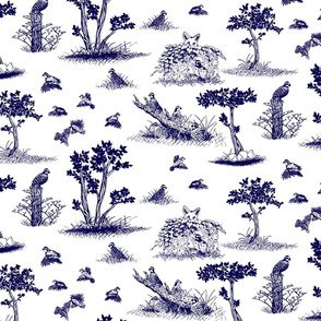bobwhite quail toile de jouy blue