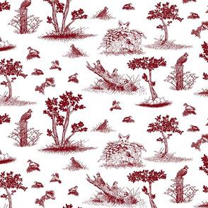 bobwhite quail toile de jouy red