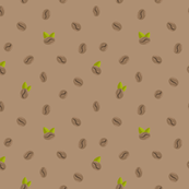 Coffee bean leaves seamless pattern
