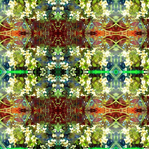 WHITE VIOLETS FEAST OF BLOSSOM MYSTERIOUS GEOMETRY Moss Green