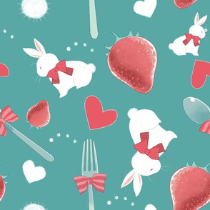 bunnies and strawberries