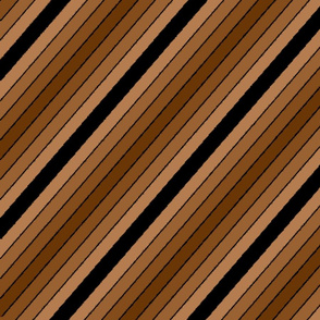 Diagonal brown stripes and a black stripe
