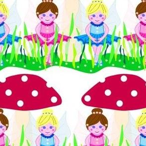Flower fairies in mushroom garden