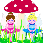 Flower fairies in mushroom garden