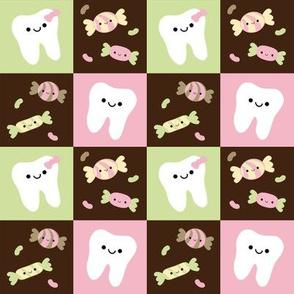 Happy Teeth Checkerboard - Brown, Pink, Light Green