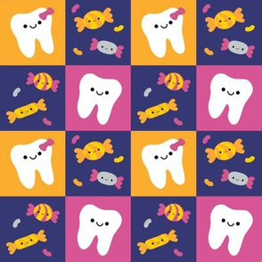Happy Teeth Checkerboard - Royal Blue, Orange, Dark Pink