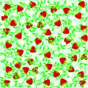 Strawberries on green