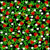 Strawberries on black