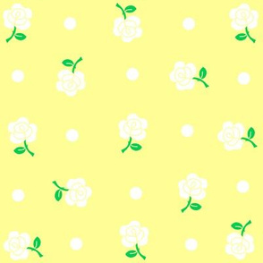 White rose & polka dot on yellow