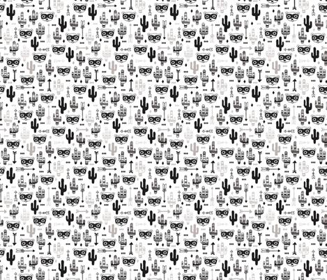 Fun raccoon cactus garden indian summer arrow geometric illustration pattern kids print XS