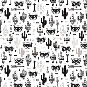 Fun raccoon cactus garden indian summer arrow geometric illustration pattern kids print XS
