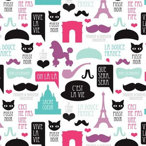 Paris icons and french text travel theme with mustache poodle eiffel tower and sacre coeur