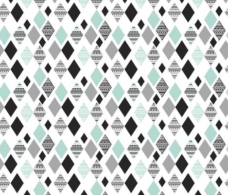 Aztec mint blue black and white geometric diamond fabric
