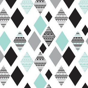 Aztec mint blue black and white geometric diamond fabric