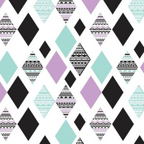 Aztec mint violet purple black and white geometric diamond fabric