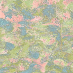 abstract paint swirl - olive, blue and pink